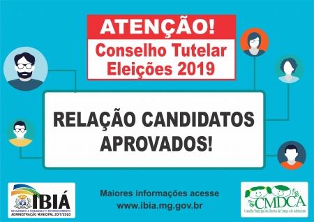 RELAÇÃO DOS CANDIDATOS APROVADOS 2019 - CONSELHO TUTELAR